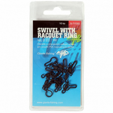 Giants fishing Obratlík Swivel with Racquet ring, UK.4 (vel.8 EU)/10ks